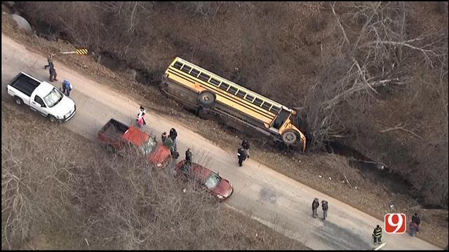 WEB EXTRA: SkyNews 9 Flies Over School Bus Crash In Seminole County
