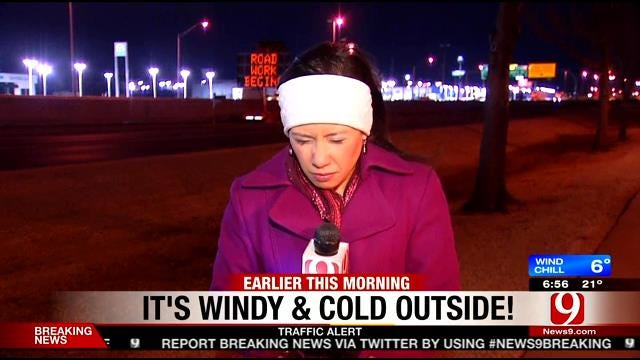 News 9 Reporter Rachel Calderon Shows How Cold It Is Outside
