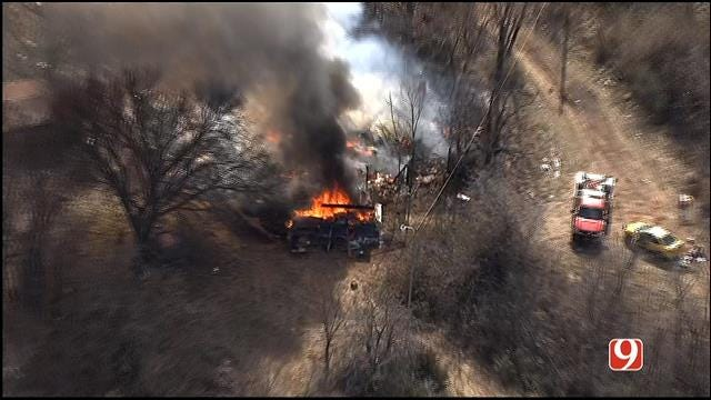 WEB EXTRA: SkyNews 9 Flies Over Abandoned House Fire In SE OKC