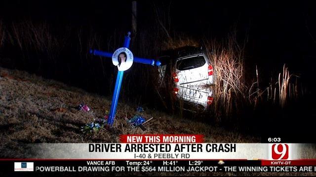 OKC Police: Drunk Driver Damages Roadside Memorial Along I-40