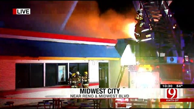 Crews Work To Contain Fire At Midwest City Burger King
