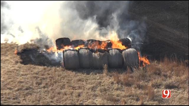 WEB EXTRA: Bob Mills SkyNews 9 HD Flies Over Guthrie Grass Fire