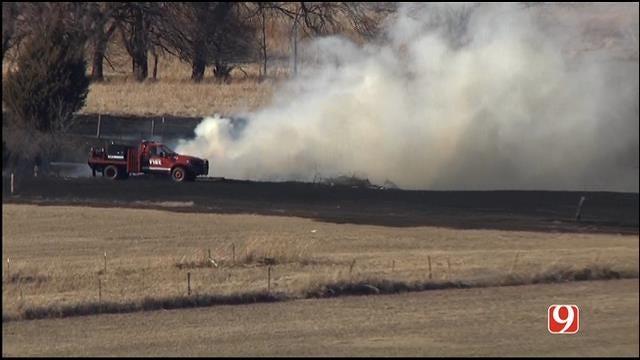 Crews Battle Grass Fire In NW Edmond