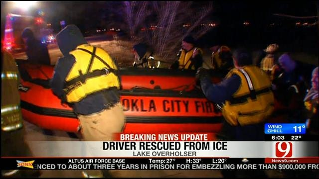 Driver Arrested For DUI After Becoming Trapped On Ice At Lake Overholser