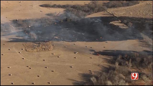 WEB EXTRA: SkyNews 9 Flies Over Grass Fire Northwest Of Edmond