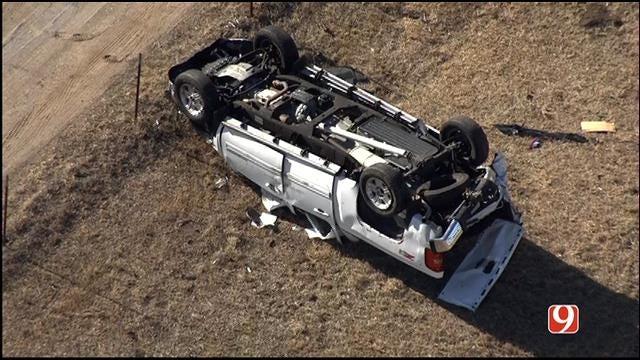 WEB EXTRA: SkyNews 9 Flies Over Rollover Crash On I-40 In West OKC