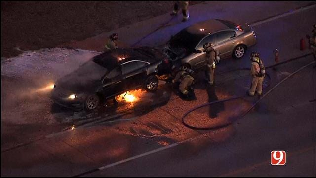 WEB EXTRA: SkyNews 9 Flies Over Vehicle Crash, Fire On NB Broadway Ext.