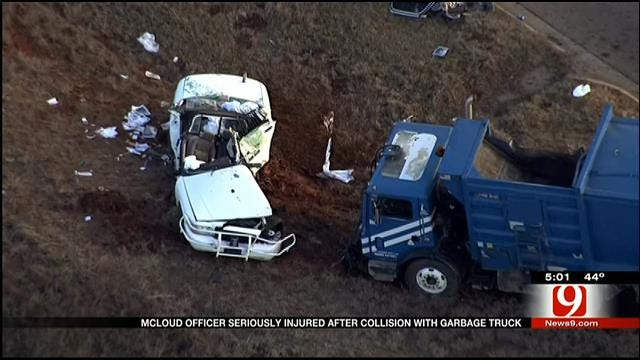 McLoud Officer Injured In Collision With Trash Truck