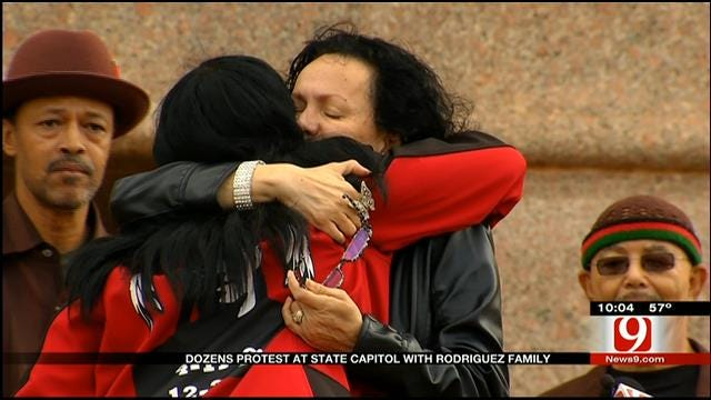 Dozens Protest At State Capitol With Rodriguez Family