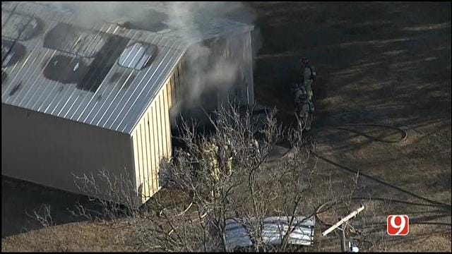 WEB EXTRA: SkyNews 9 Flies Over Structure Fire In NE Oklahoma City