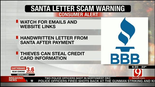BBB Warns Of 'Letter From Santa' Scams
