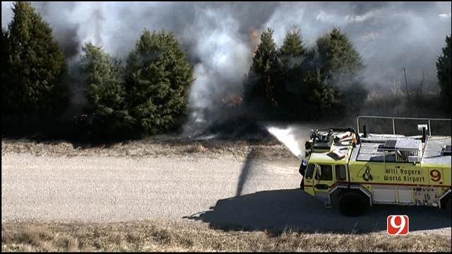 WEB EXTRA: Bob Mills SkyNews 9 HD Flies Over OKC Grass Fires