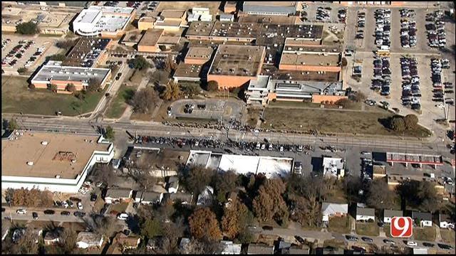 WEB EXTRA: Bob Mills SkyNews 9 HD Flies Over Norman Students' Protest