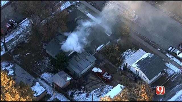 WEB EXTRA: SkyNews 9 Flies Over House Fire In SW OKC