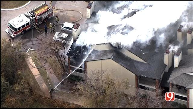 WEB EXTRA: Bob Mills SkyNews 9 HD Flies Over Fire At NW OKC Apartment Complex
