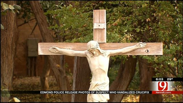 Edmond Police Release Photos OF Suspect Who Vandalized Crucifix