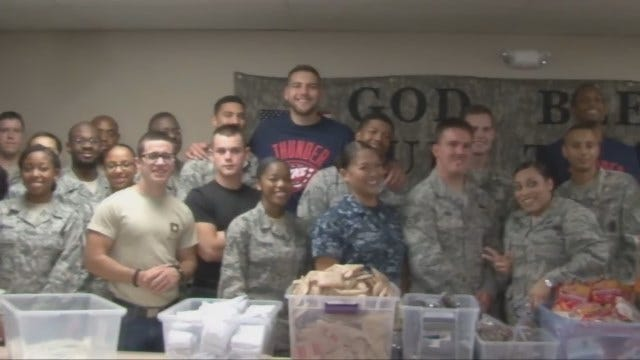 WEB EXTRA: OKC Thunder, Military Members Make Care Packages For Deployed Soldiers