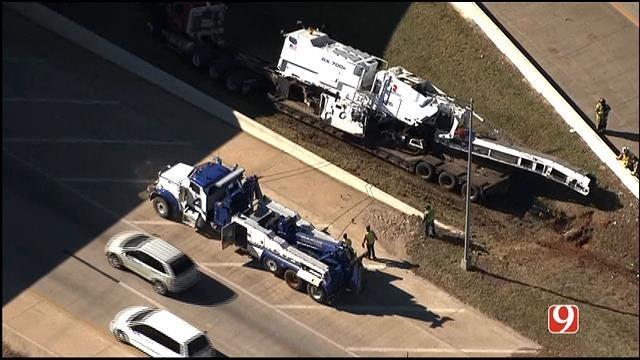 WEB EXTRA: Bob Mills SkyNews 9 HD Flies Over Semi Accident At I-40/I-35 Junction