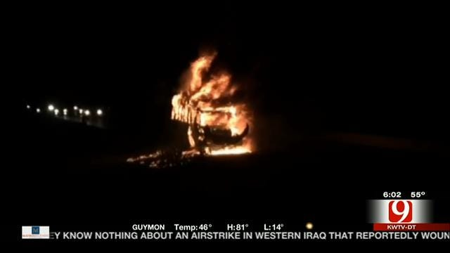 Tour Bus Catches Fire On Turner Turnpike Sunday Night