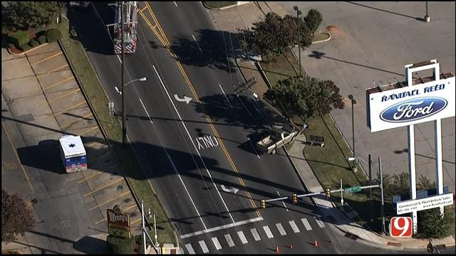 WEB EXTRA: Pickup Hits Power Pole In NW OKC