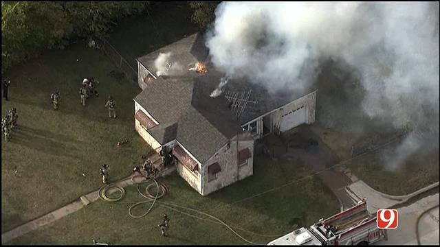 WEB EXTRA: SkyNews 9 Flies Over House Fire Near OCU Campus