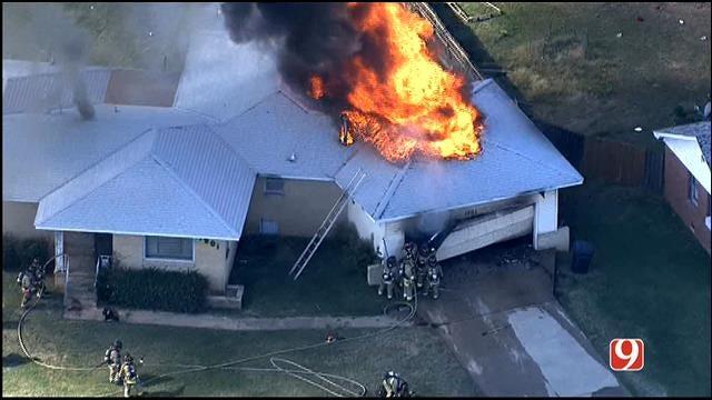 WEB EXTRA: Crews Battle House Fire In NE OKC