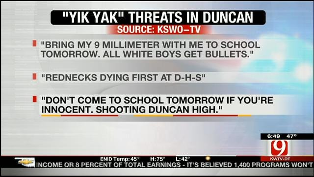Teen Arrested For Making Deadly Threats Against Students At Duncan High School