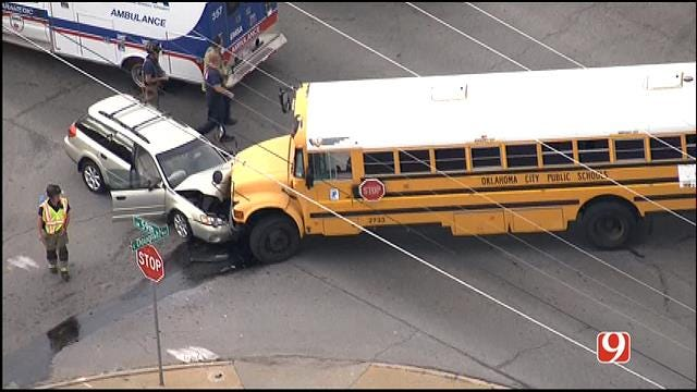 WEB EXTRA: Bob Mills SkyNews9 HD Flies Over Accident Involving A Oklahoma City School Bus