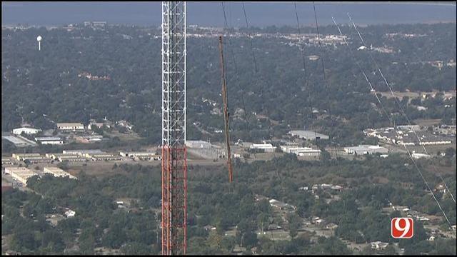 Bob Mills SkyNews 9 Flies Over KWTV Tower Deconstruction