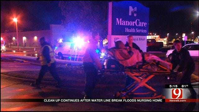Cleanup Continues After Water Main Break At OKC Nursing Home