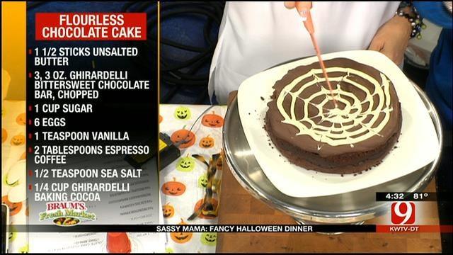 Flourless Chocolate Cake W/Ganache Spider Web Design