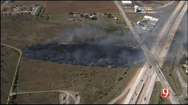 WEB EXTRA: SkyNews 9 Flies Over Grass Fire Near Yukon