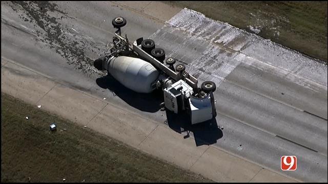 WEB EXTRA: SkyNews9 Flies Over Overturned Cement Truck On Lake Hefner Parkway