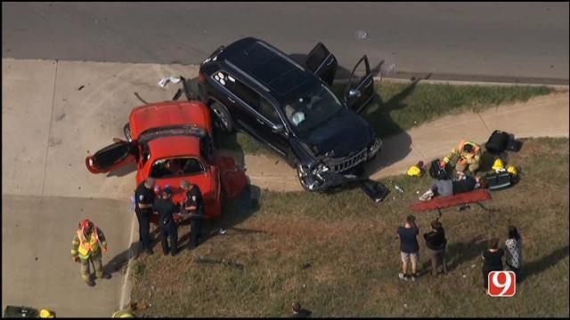 WEB EXTRA: Bob Mills SkyNews 9 HD Flies Over Two-Vehicle Collision In Edmond