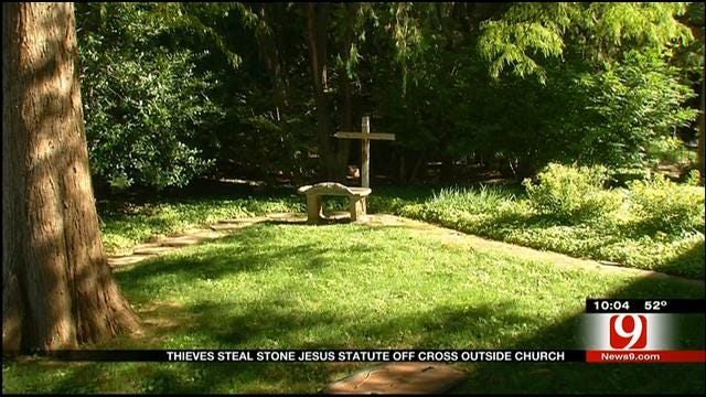 Thieves Steal Stone Jesus Statue Off Cross Of Edmond Church