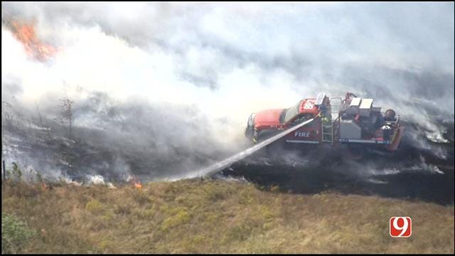 Crews Respond To Grass Fire In NW OKC