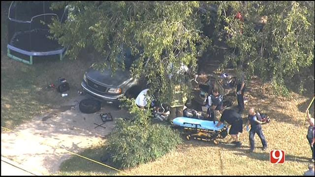 WEB EXTRA: SkyNews 9 Flies Over Accident Involving Man, SUV In OKC