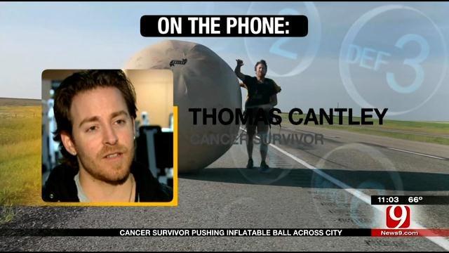 California Cancer Survivor Pushes Inflatable Ball Across America