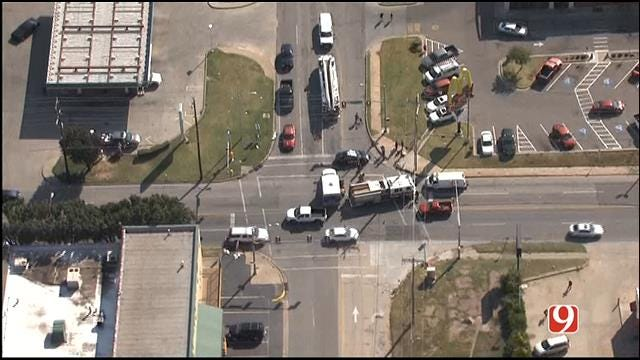 WEB EXTRA: Bob Mills SkyNews 9 HD Flies Over Bicycle Accident In Downtown OKC