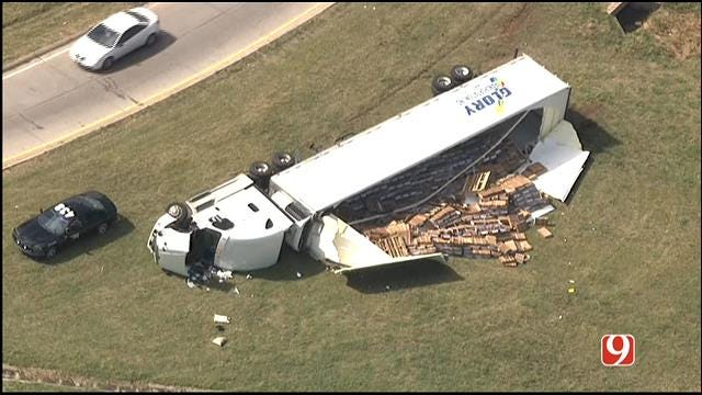 WEB EXTRA: Semi Overturns On Exit Ramp From I-240 To I-44