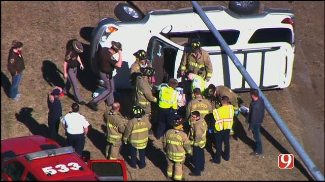 WEB EXTRA: Crews Rescue Driver Following Rollover Wreck On I-44