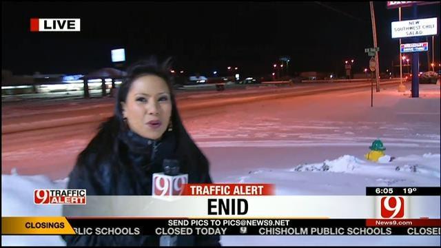 News 9's Rachel Calderon Reports On Winter Weather In Enid