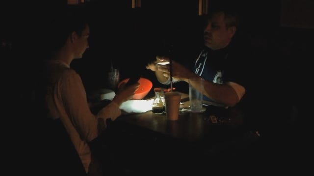 WEB EXTRA: Patrons Dine By Cellphone Light At Power-less Restaurant