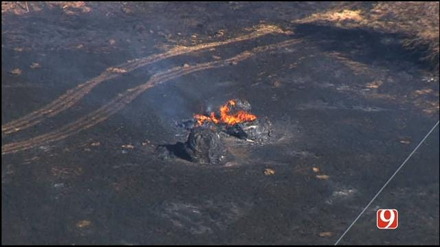 WEB EXTRA: Bob Mills SkyNews 9 HD Flies Over Shawnee Grass Fire