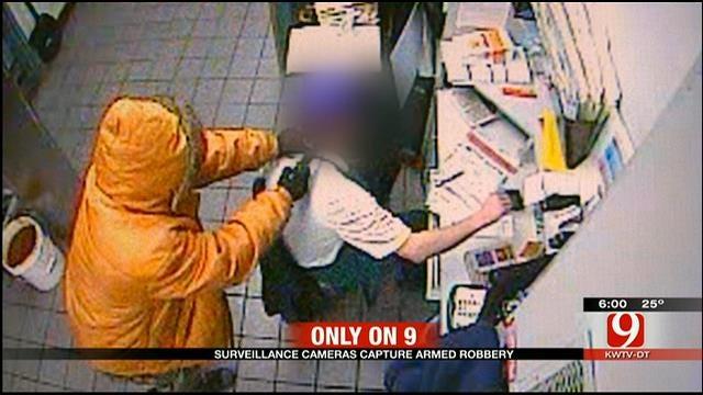 Suspect Caught On Camera Robbing OKC Braum's At Gunpoint