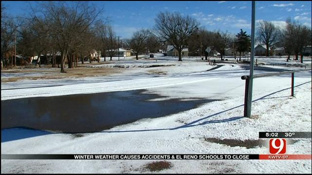 Just Enough Snow For El Reno School Closures, Dicey Road Conditions