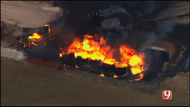 Crews Battle Oil Field Fire Near Perry