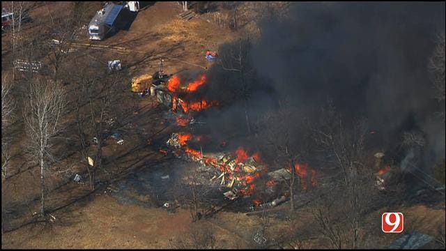 WEB EXTRA: Bob Mills SkyNews9 HD Flies Over House Fire Near Luther