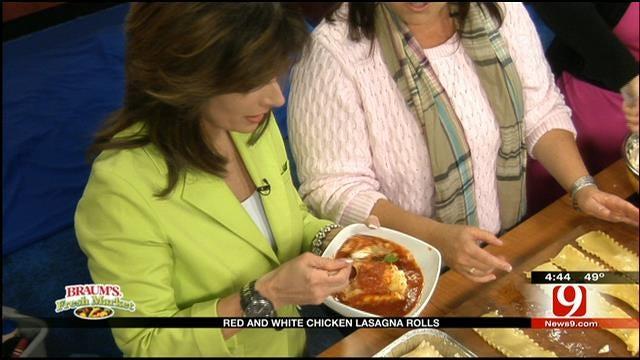 Red And White Chicken Lasagna Rolls