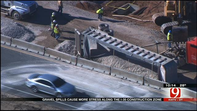 Gravel Trucks Overturn 2 Days In A Row On I-35 In Norman